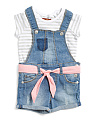 Infant & Toddler Girls Striped Shortall Set