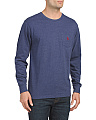 Long Sleeve Heathered Chest Pocket Tee