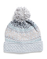 Multi Knit Hat With Pom Pom
