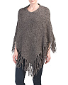 Knit Poncho With Long Fringe
