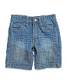 Little Boys Moto Denim Shorts