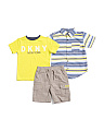 Little Boys 3pc Woven Tee & Short Set
