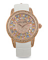 Women's Swiss Made Diamond And Sapphire Leather 38mm Watch