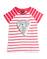 Big Girls Glitter Heart Striped Tee