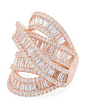 14k Rose Gold Plated Sterling Silver Cz Highway Ring