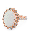 14k Rose Gold Plated Sterling Silver Opal And Cz Ring