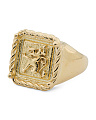 Made In Italy Gold Plated Sterling Silver Griffin Signet Ring