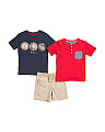 Toddler Boys 3pc Henley Tee & Short Set