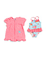 Newborn Girls 2pc Swimsuit & Cover-up Set