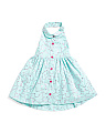Infant Girls Button Front Collar Dress