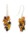Made In Israel Sterling Silver Baltic Amber Cluster Earrings
