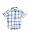 Boys Short Sleeve Poplin Button Down Shirt