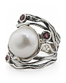 Made In Israel Sterling Silver Pink Tourmaline Pearl Ring