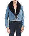 Juniors Mia Faux Fur Collar Denim Jacket