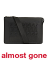 Made In Italy Leather Flat Logo Embossed Pouch