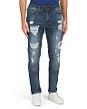 Slim Straight Bleach Wash Jeans