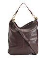 Zip Front Leather Hobo