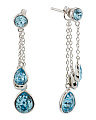 Sterling Silver Swarovski Aquamarine Teardrop Earrings