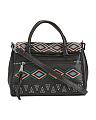 Embroidered Nevada Leather Double Entry Satchel