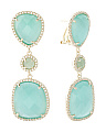 Gold Plated Sterling Silver Aqua Cats Eye And Jade Earrings