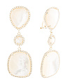Gold Plated Sterling Silver Mother Of Pearl And Cz Earrings