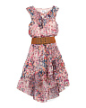 Big Girls Ruffle Floral Chiffon Dress With Snap Back Belt
