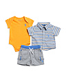 Newborn/infant Boys 3pc Woven Tee & Short Set