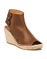 Made In Spain Wedge Leather Espadrilles