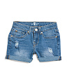 Big Girls Exposed Pocket Denim Shorts