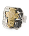 Made In Israel 2 Tone Sterling Silver Cross Ring