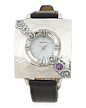 Women's Made In Israel Sterling Silver 20mm Amethyst Cz Watch