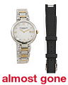 Women's Swiss Made Diamond Marker Two Tone Two Strap Watch