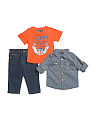 Infant Boys 3pc Woven Tee & Pant Set