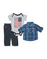 Newborn Boys 3pc Woven Tee & Pant Set