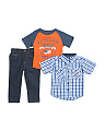 Little Boys 3pc Woven Tee & Pant Set
