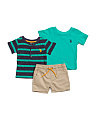 Infant Boys  3pc Henley T Shirt & Short Set