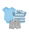 Newborn Boys 3pc Woven Shirt & Short Set