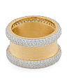 Made In Italy 14k Gold Plated Sterling Silver Cz Band Ring