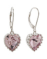 Sterling Silver Swarovski Crystal Amethyst Heart Earrings