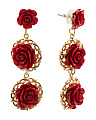 Red And Gold Tone Drop Earrings