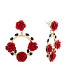Red And Gold Tone Rose Circle Earrings