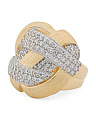 Made In Italy 14k Gold Plated Sterling Silver Pave Cz Ring