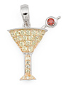 Sterling Silver Pave Cz Martini Glass Charm