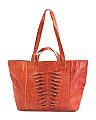 Twisted Detail Leather Tote