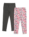 Little Girls 2pk Floral & Black Leggings