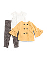 Toddler Girls 3pc Faux Melton Jacket & Pant Set