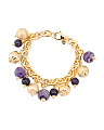 Made In Italy Cape Amethyst Beaded Charm Bracelet