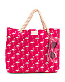 Girls Foil Flamingos Tote