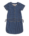 Girls Button Front Denim Dress