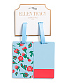 2 Pk Floral & Solid Luggage Tags
